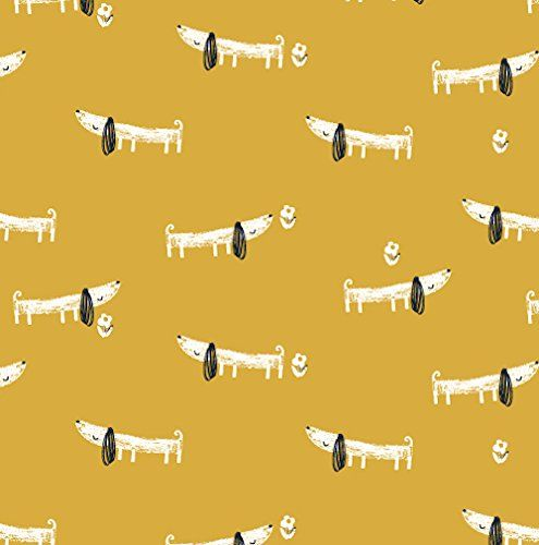 MORI GIRLS FABRIC - 0.5 Metre - Dog Mustard Yellow - DASH117 - by Dashwood Studio - 100% Cotton (Dogs Yellow DASH117): Amazon.co.uk: Kitchen & Home