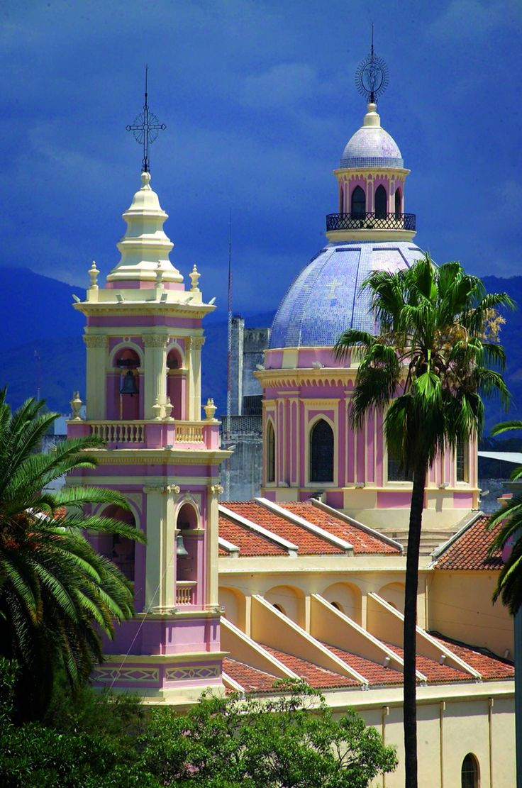 This is the Catedral de Salta, in Argentina. Dome roof tops are found across Latin America and are especially seen in many churches.