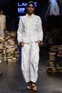 Casual White Asymmetrical Checked Zipper Pants  #lakmefashionweek2016…