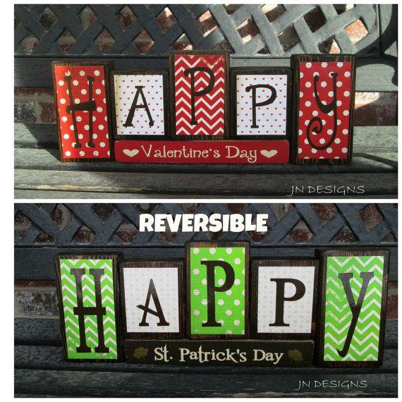 REVERSIBLE Valentine's & St Patrick's day wood by jjnewton on Etsy