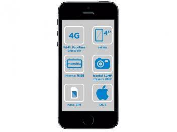 "iPhone 5S Apple 16GB Cinza Espacial Tela 4"" Retina - 4G Câmera 8MP + Frontal iOS 8 Proc. M7 Touch ID"