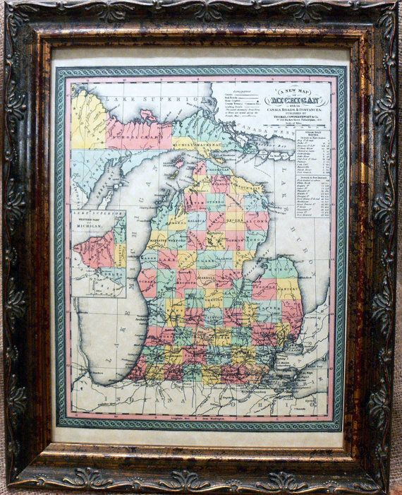 Michigan State Map Print of an 1853 Map on by apageintime on Etsy, $9.50