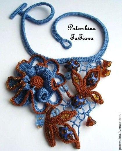 """Колье """"Леденцы, сваренные Феей Грозы"""" - синий,коричневый цвет,синие цветы ☆"""