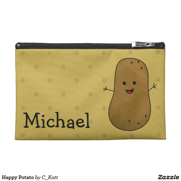 Happy Potato Travel Accessory Bag. Cute cartoon potato with a big happy smiling face. A template to add your name to personalize this accessory bag. The background is designed to give a potato skin look. Fun for every day use or keeping your holiday essentials together.