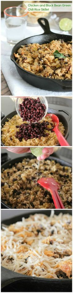 Chicken and Black Bean Green Chili Rice Skillet, perfect weeknight dinner! www.picky-palate.com #dinner