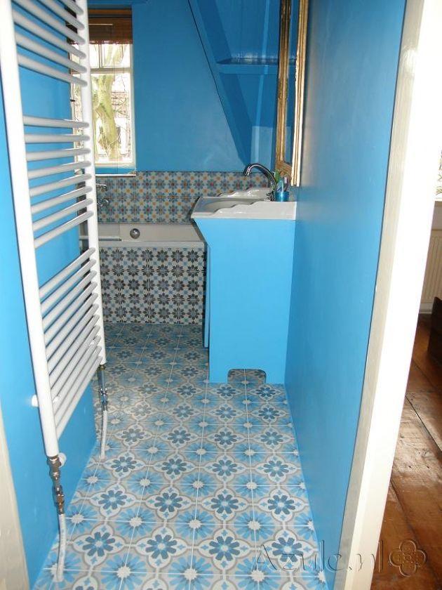 Cementtiles bathroom - Azule 07 - Azule 01 Maroc - Azule 06 - Project van Designtegels.nl