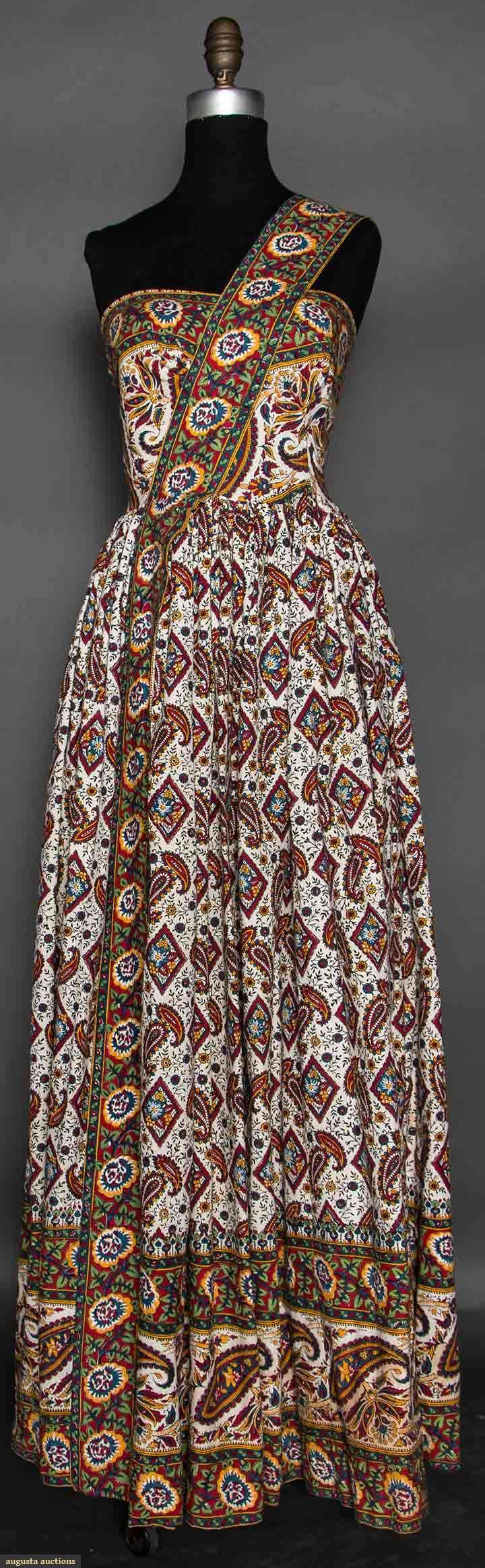 EAST INDIAN PRINT COTTON DRESS, 1950s White cotton w/ yellow, red, green & blue print, single wide shoulder strap, dirndl skirt