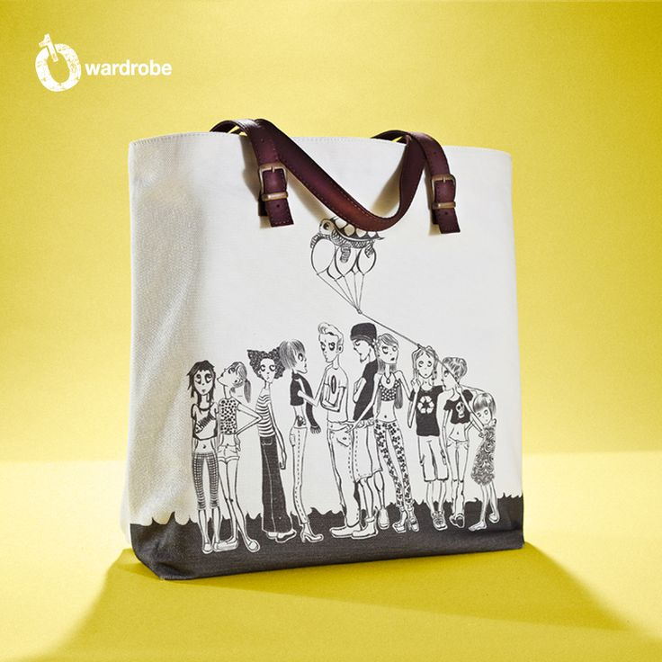01WARDROBE Autumn/Winter 2013 - White Family Tote Bag Front, Cow Skin Leather Shoulder Straps // %100 Cotton Canvas bag / Printed bag / İllustrated bag / $69