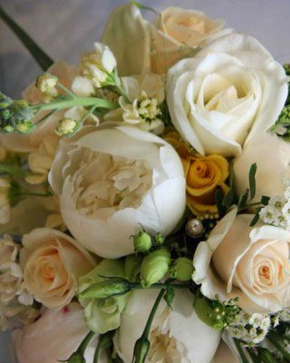 Post your inspirational bouquets! (and wedding theme) :  wedding White Peonies Lemon Rose Cream Stocks Vendella Rose Wedding Bouquet