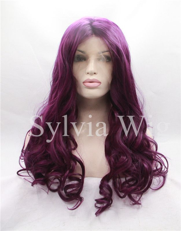purple body wave synthetic wig