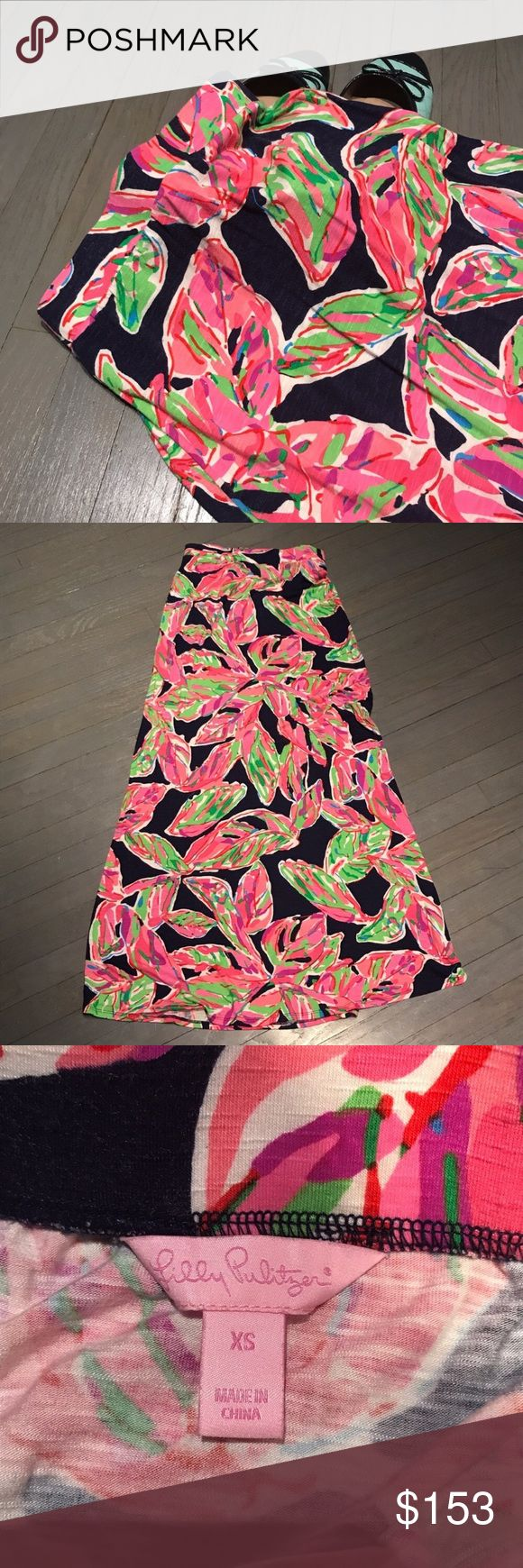 Lilly Pulitzer In the Vias Marine blue maxi skirt Lilly Pulitzer In the Vias Marine navy blue pink green maxi skirt. Never altered. Can be worn as mid length strapless dress Lilly Pulitzer Skirts Maxi