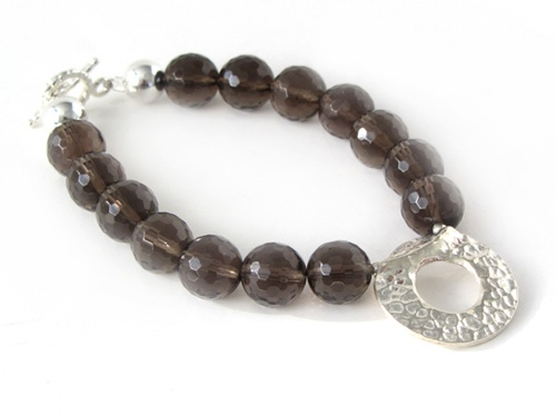 Vienna Bracelet - Handmade by Native Jewellery handmade using Burmese Smoky Quartz and a Sterling silver hammered donut charm, clasp and findings. Handmade with care in Australia
