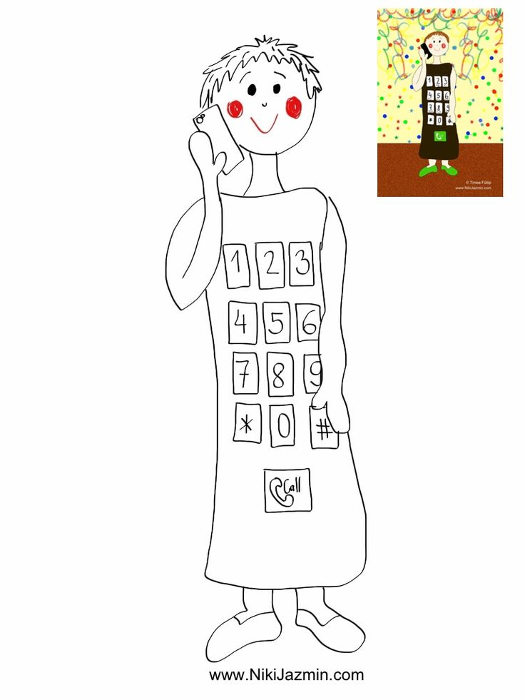 phone - colouring page