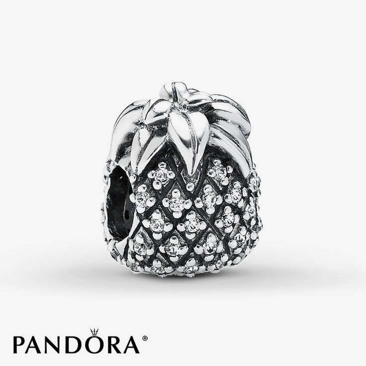 From the sterling silver leaves on the top to the iconic pattern of shimmering clear cubic zirconias, this pineapple charm from the PANDORA Summer 2014 collection realistically depicts this favorite fruit. Style # 791293CZ.