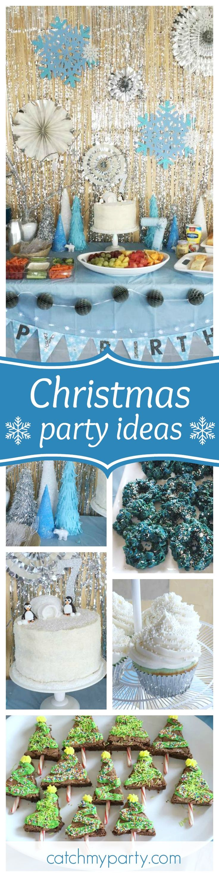 Check out this gorgeous Winter Wonderland birthday party. Love the cupcakes with snowflake toppers! See more party ideas and share yours at CatchMyParty.com