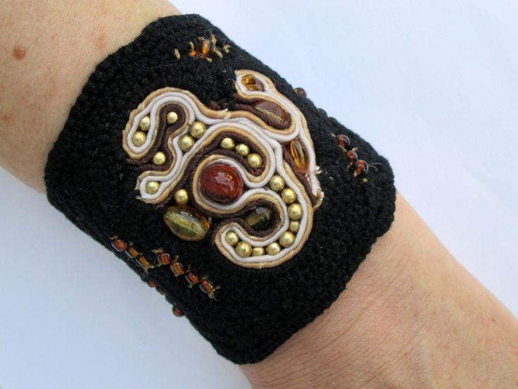 Crochet bracelet,Soutache bracelet,Black cuff,Black crochet cuff,Boho bracelet,Hippie bracelet,Bead embroidered cuff bracelet by AgathaBee on Etsy