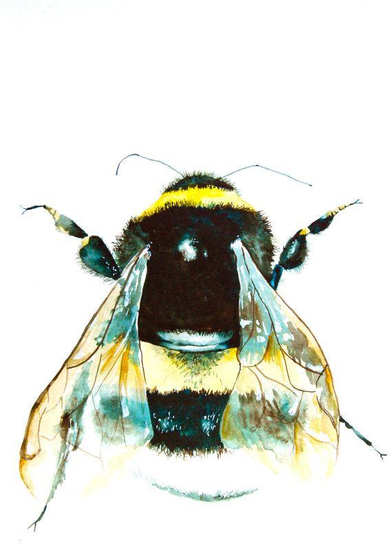 Watercolor Painting, Bumble Bee, Original