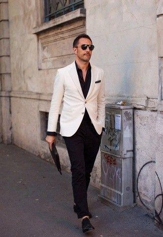 Men's White Blazer, Black Long Sleeve Shirt, Black Chinos, Black Leather Oxford Shoes