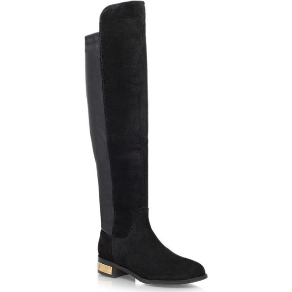 Carvela Pacific Low Block Heel Over The Knee Boots, Black Suede (7.725 RUB) ❤ liked on Polyvore featuring shoes, boots, suede knee-high boots, faux suede over the knee boots, black knee high boots, black over the knee boots and over the knee boots