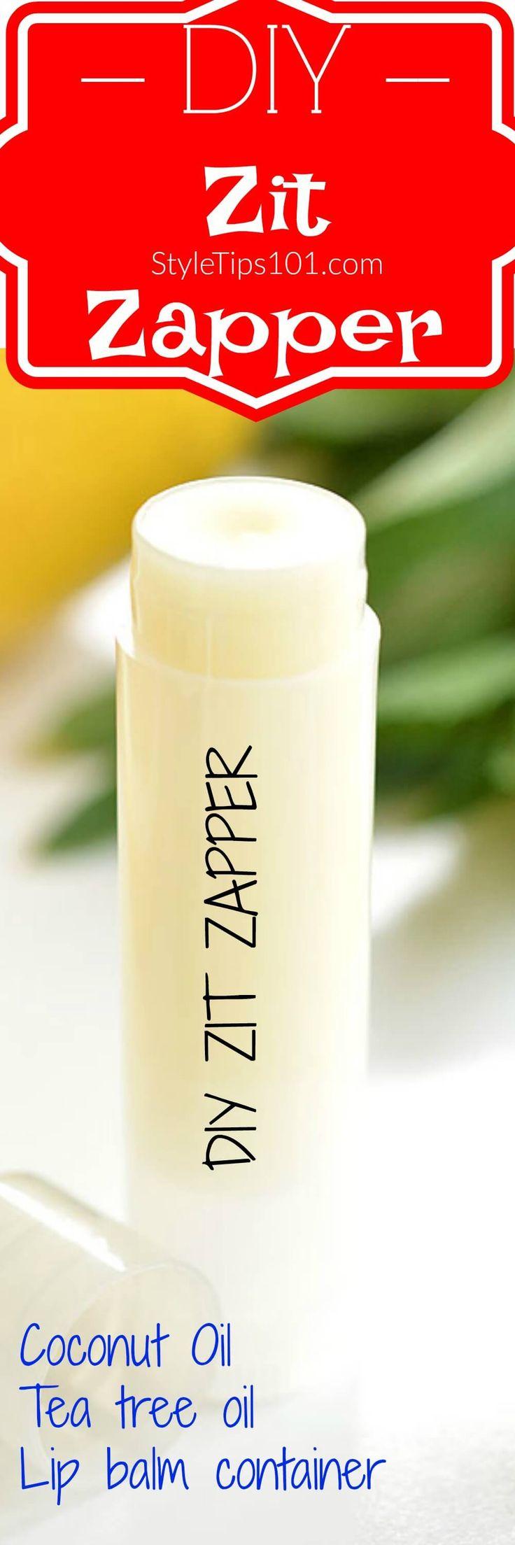1/8 cup coconut oil  5-7 drops tea tree oil  lip balm tube via @styletips1o1
