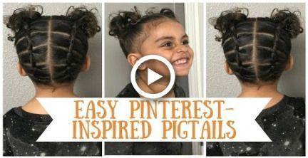 Easy beginner Pinterest inspired pigtail hairstyle tutorial for  curly short bir..., #beginne...