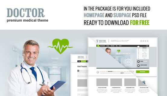 Here you can download #FREE 2 #PSD files of Doctor #WordPress Theme. Package includes layered PSD files of Homepage and Subpage great for your own project to use.