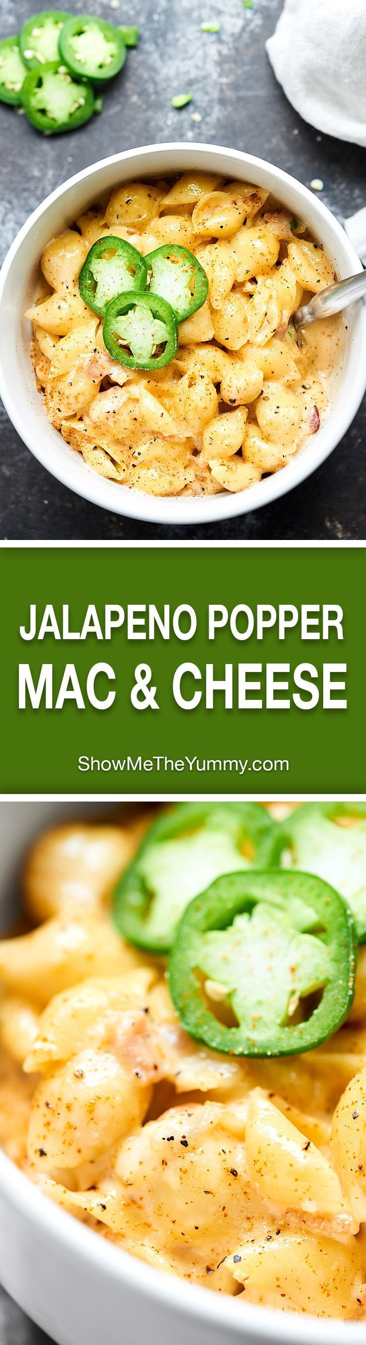 This One Pot Jalapeno Popper Mac and Cheese is creamy, a bit tangy from the mayo & cream cheese, is full of bacon, & is perfectly spicy from the jalapenos! showmetheyummy.com #jalapenopopper #macandcheese