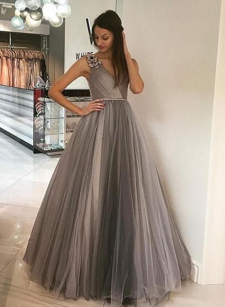 508c323af7037 Elegantno siva V vrat tila duga najbolja Prom haljina poda Večernje haljine  Online. Elegant Grey V Neck Tulle Long Best Prom Dresses Floor Length  Evening ...