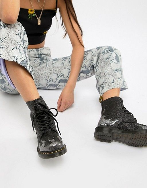 6b283f6e956 Dr Martens 1460 Pascal Black Glitter Flame Flat Ankle Boots in 2019 ...