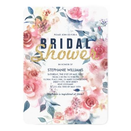 Faux Gold Glitter Pink Floral Bridal Shower Invite - invitations custom unique diy personalize occasions