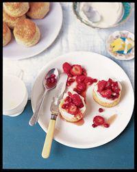 Strawberry and pomegranate shortcake