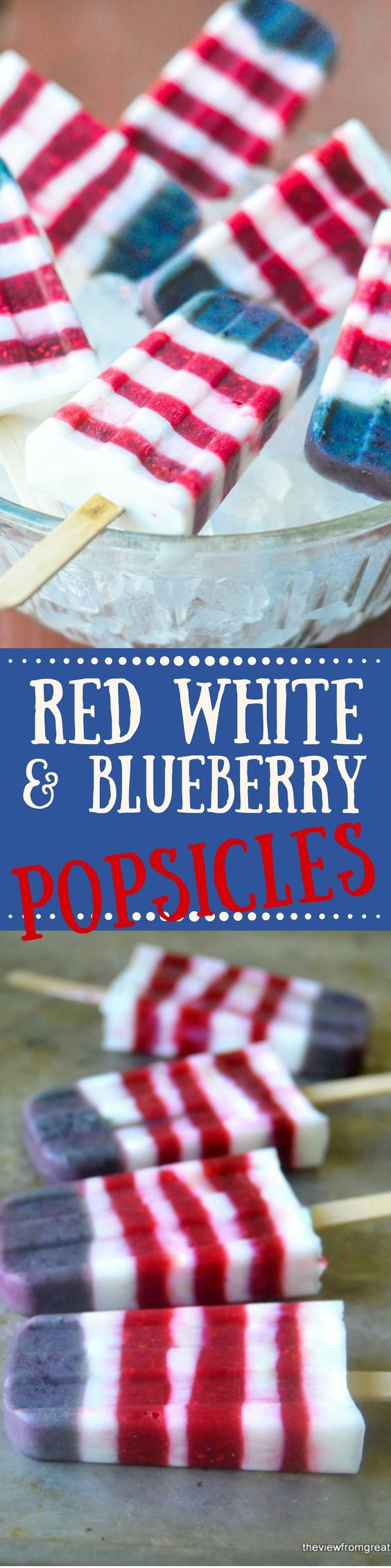RED WHITE AND BLUEBERRY YOGURT POPSICLES are a refreshing and delicous way to show your colors ~ kids of all ages loves these healthy frozen treats!  4th of July   Patriotic   ice cream   Memorial Day  