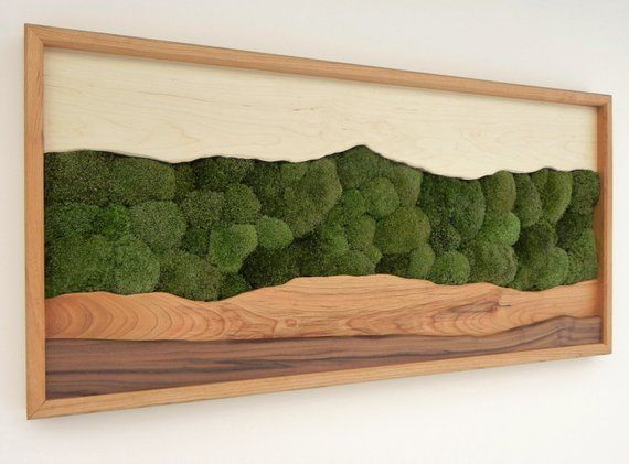 Green Mountain Moos Wand Kunst /Sugar maple, Kirsche, Nussbaum, erhaltene Moos