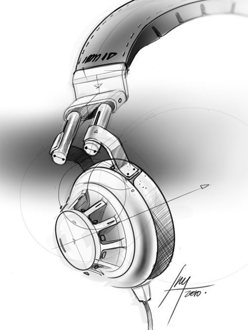 Loving the attention to detail of this sketch.  Best drawing of headphones I have ever seen!: