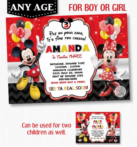 123 best Mickey Mouse Invitations images – Minnie and Mickey Birthday Invitations