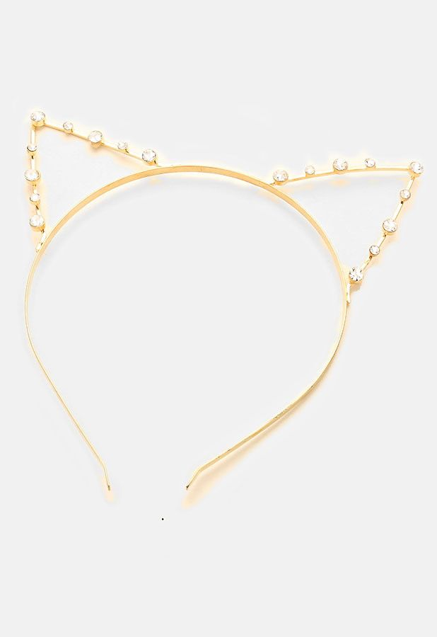 Super cute gold metal cat ear headband with crystal pave rhinestones.