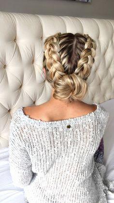 Double braid bun - http://OliviaRink.com