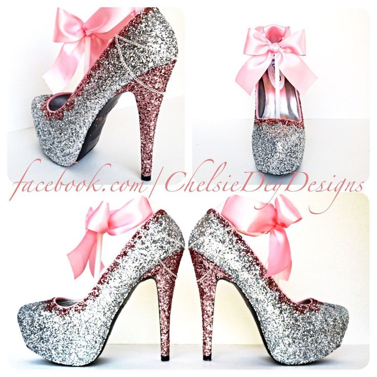 Glitter High Heels - Pink and Silver Pumps - Bubblegum Light Pink Platform Shoes - Glitzy Wedding Heels - Pink Satin Bows - pinned by pin4etsy.com