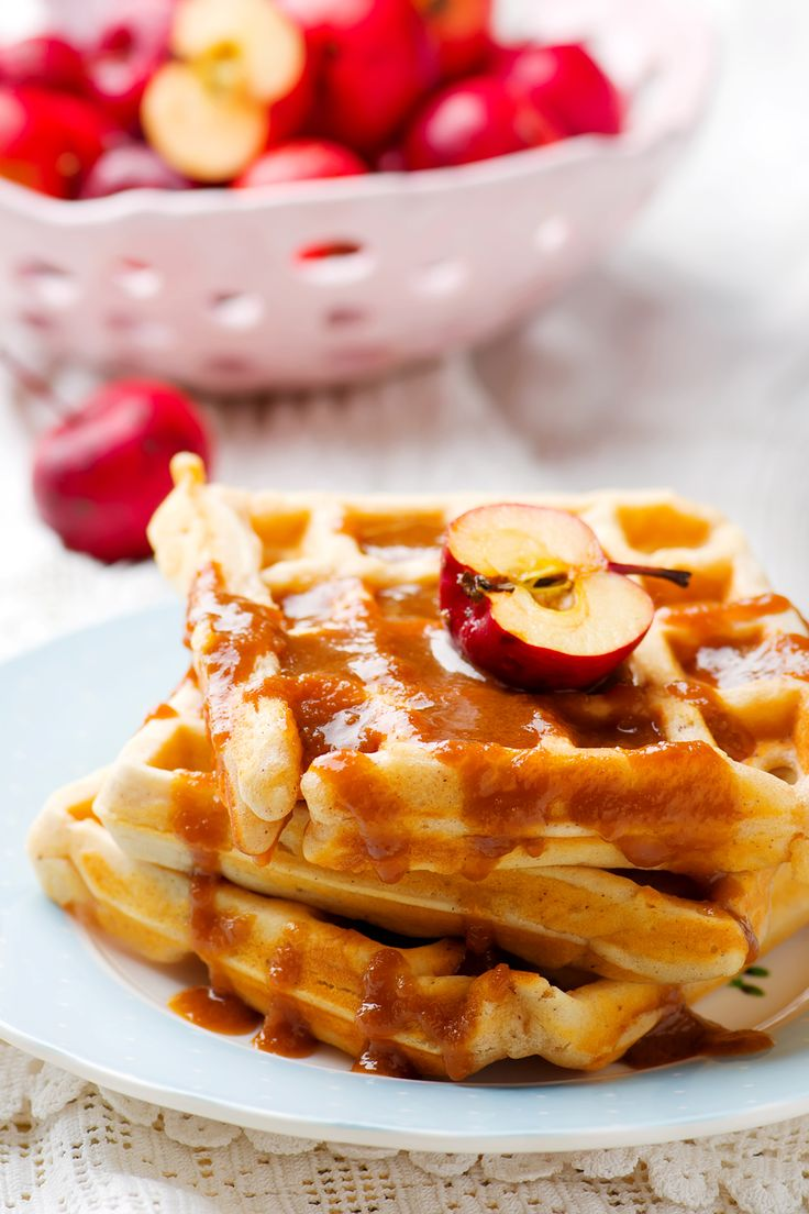 waffle with apples.vintage style .selective focus