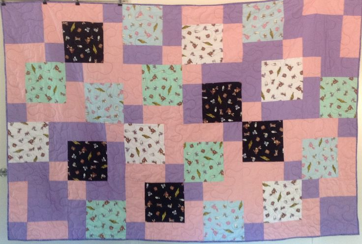 Aussie Animals – Pink and Purple -Single Bed Quilt 54 x 81 inches