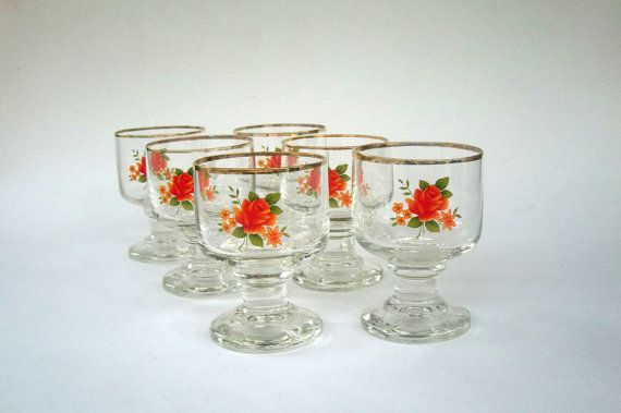 6 Rose Sherry or Port Glasses Shot Glasses Liquor by FrenchCandy, €35.00