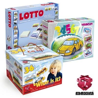 Zestaw 3 gier edukacyjnych MAXIM, które rozwijająumiejętności kojarzenia, zapamiętywania oraz nazywania środków lokomocjiW skład zestawu wchodzi:-LOTTO Moto-CO TO? Pojazdy-Puzzle 34567 POJAZDYW ZESTAWIE MAXIM TANIEJ!