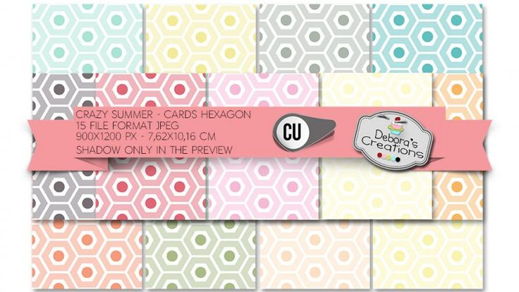 Crazy Summer Cards Hexagon by Debora's Creations (CU)