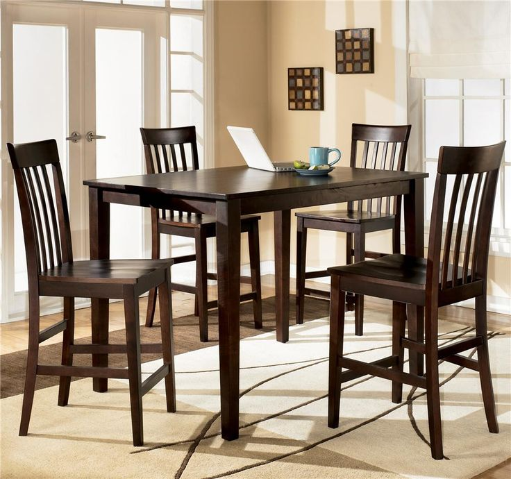 Ashley Furniture Hyland 5 Piece Rectangular Counter Height Table With 4 Bar Stools