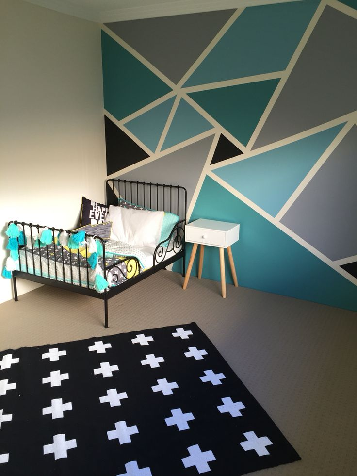 Big boys bedroom withal the IKEA minnen toddler bed frame, Adairs linen and a funky geometric wall paint job.                                                                                                                                                                                 More