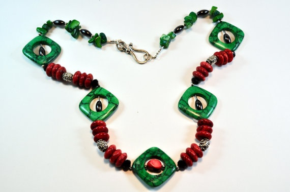 Green turquoise red corals and hematite necklace by Livingforce, $53.00