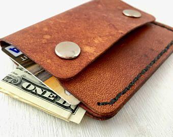 Cartera de cuero mínimo con broches - papá - billetera de cuero de cartera minimalista delgado - 3er aniversario - regalo para él - para hombre - listo para enviar