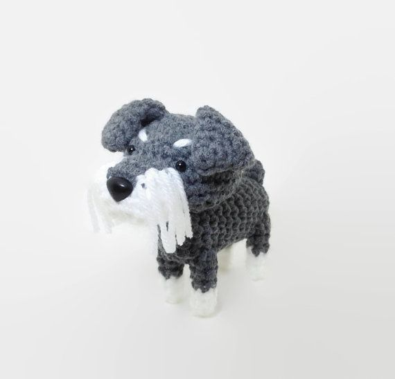Schnauzer Stuffed Toy Amigurumi Dog Crochet Puppy by Inugurumi
