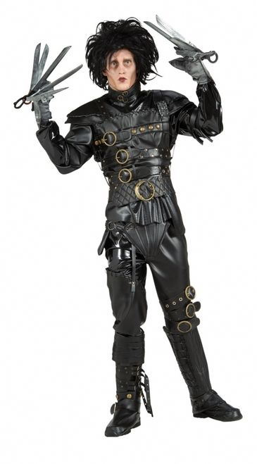 Edward Scissorhands Grand Heritage Costume - This is the licensed Grand Heritage Edward Scissorhands costume from the 1990 movie classic, Edward Scissorhands, starring Johnny Depp.  This exclusive costume comes with everything: jacket, belt, pants, boot covers, wig, make-up kit, and of course, scissor gloves. The jacket is pleather and zips up the back. #edward #scissorhands #yyc #calgary #mens #costume #movie