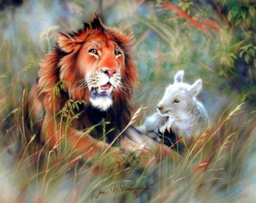 Bring home this lamb and lion spiritual and religious art print poster works wonderfully in a home setting. This poster will be a great addition to your home decor and spread its splendorous charms of nature into your house. This wall poster is uniquely created with technique that ensures the better quality product with perfect color accuracy which offers long-lasting beauty to your home.